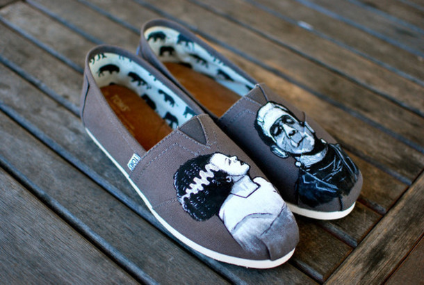 shoes toms toms shoes frankenstein gray toms grey grey painted shoes