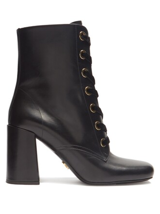 leather ankle boots ankle boots lace leather velvet black shoes
