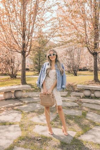 stephanie sterjovski - life + style blogger dress jacket sunglasses bag jewels shoes mules denim jacket spring outfits