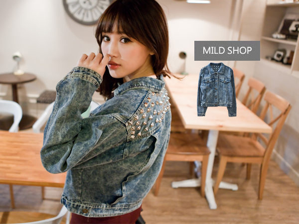 New Girls Women Japanese Korean Fashion Rock Rivet Washed Denim Jacket Outerwear | eBay