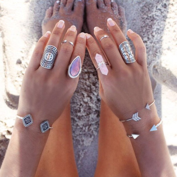 jewels, ring, bracelets, boho, bohemian, summer, nail ...