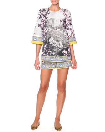 Dolce & Gabbana Floral & Ancient Ruin-Print Tunic & Shorts - Neiman Marcus