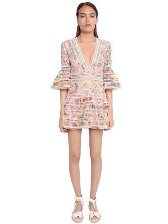 dress mini dress mini lace floral pink
