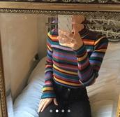 sweater,colorful,multicolor,stripes,stripey,ribbed,tight,bodycon,jumper