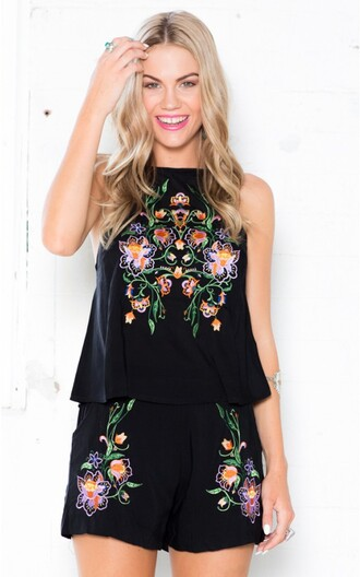 shirt peasant top black set matching set coords floral embroidery floral 2 piece shorts top shorts embellished top