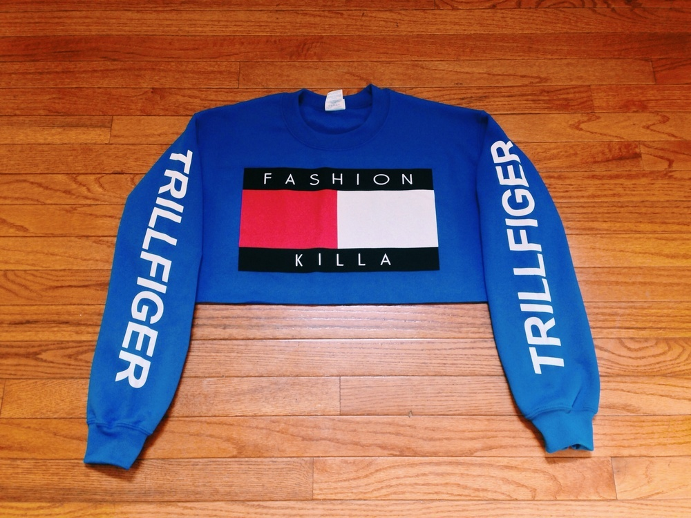 soto militia fashion killa x trillfiger crop sweater blue
