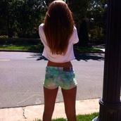 shorts,color/pattern,blue,green,white,long hair,shirt