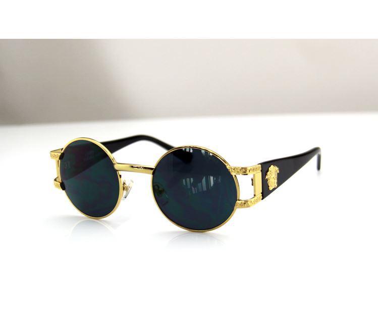 spedizione gratuita di alta qualità Medu marchio SA unico nero oro foglio occhiali da sole in metallo rotondo in  da  su Aliexpress.com
