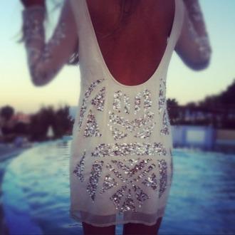 flowy see through white dress sequin dress