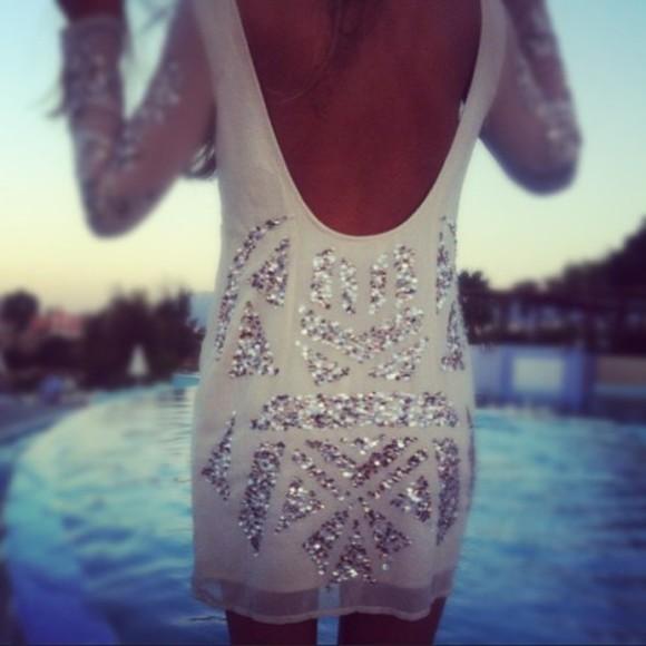 flowy white dress sequin dress see through