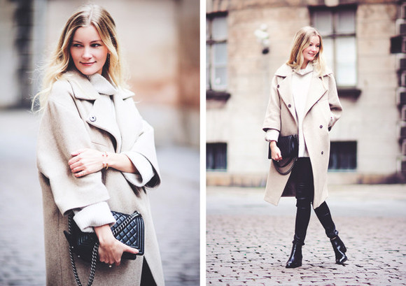 beige passions for fashion blogger bag coat chelsea boots