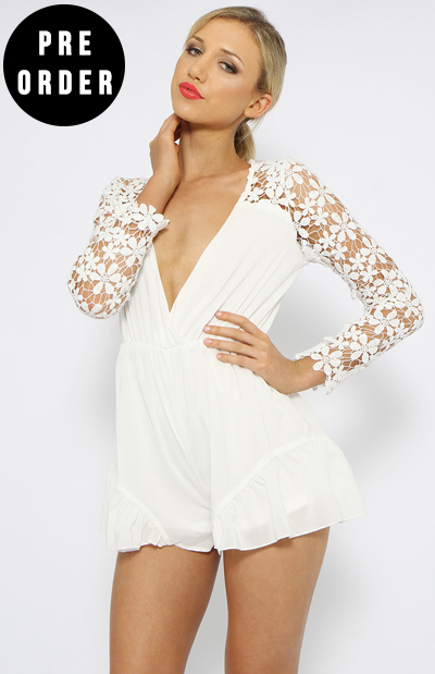 Rhianna Playsuit - White | New Arrivals | Peppermayo