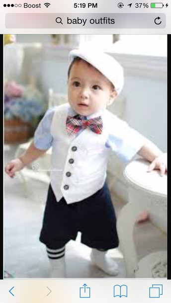 hat baby bow ties bow tie lovely cute boy baby clothing vest