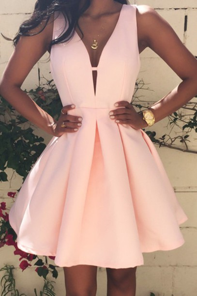 pink light pink statement necklace mini dress v neck dress pink dress homecoming dress party dress summer dress beige short prom dress prom
