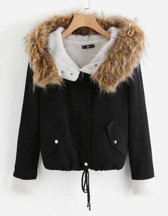 coat girly black fur fur coat fur jacket