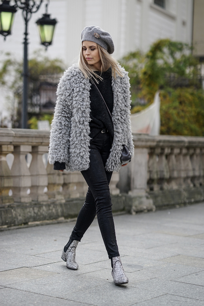 shoes tumblr boots silver boots ankle boots glitter glitter shoes denim jeans black jeans jacket fuzzy jacket grey jacket beret hat