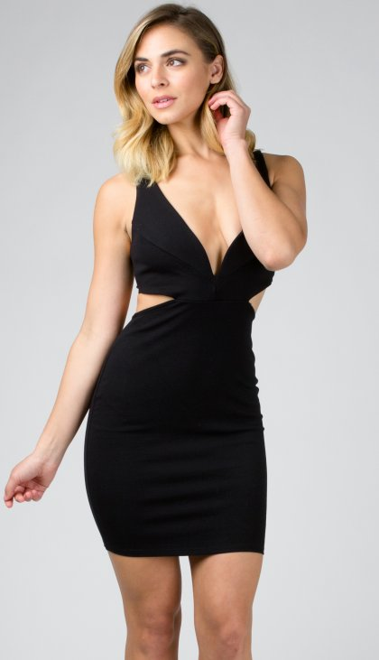 Sweetheart cutout ponte dress