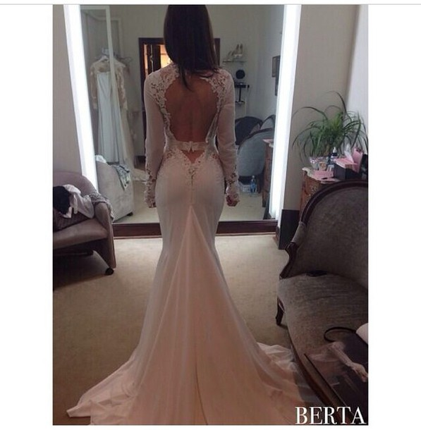 dress wedding dress white beautiful cream embellished maxi elegant evening gown white dress bckless lace long sleeves prom cute lovely instagram tumblr ivory sexy long prom dress beige white crochet open back open back backless longsleeve pink prom