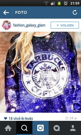 sweater starbucks coffee galaxy white and blue amazing purple