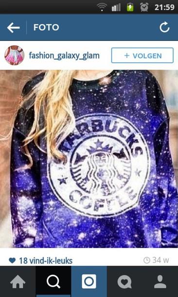 sweater starbucks coffee galaxy print blue and white amazing purple