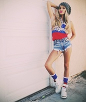 hat,shoes,neff beanie,pia mia perez,socks,legend,blue,white,red,swag
