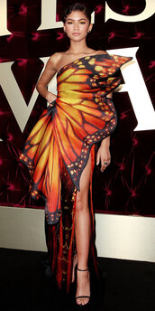 dress,gown,butterfly,orange dress,orange,prom dress,red carpet dress,zendaya,asymmetrical,asymmetrical dress,sandals,slit dress,shoes