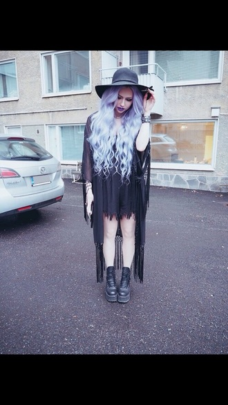 dress pastel goth black dress black heels black high heels gothic dress goth goth dress grunge dress alternative dress purple hair accessory cardigan shoes