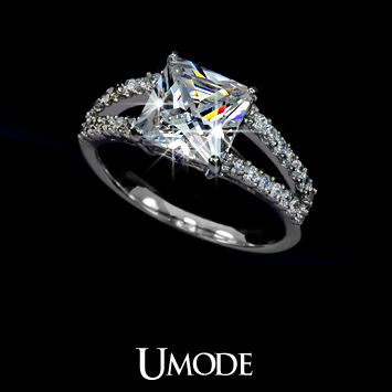 White Gold plated Princess Cut Cubic Zirconia with micro CZs Cluster Setting Engagement Ring (Umode UR0009B)-in Rings from Jewelry on Aliexpress.com