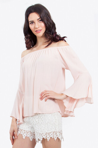 top light pink off the shoulder top bell sleeves bikiniluxe