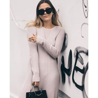 dress tumblr nude dress knitwear knitted dress long dress sunglasses black sunglasses cat eye necklace bag black bag beige dress fall dress long sleeve dress minimalist
