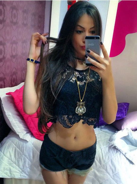 top lace crop tops
