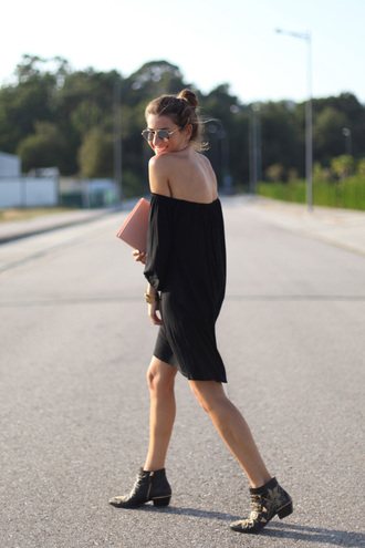 b a r t a b a c blogger off the shoulder dress black dress ankle boots