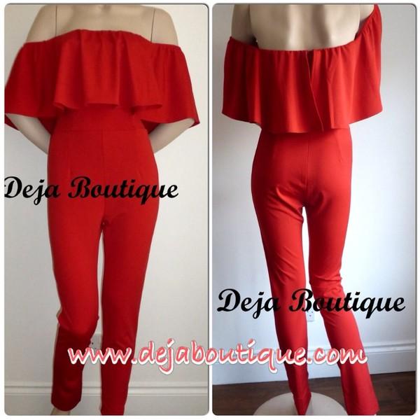 pants red ruffle off shoulder jumpsuit