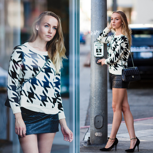 sweater city dweller makeup table vanity row rock vogue dress to kill chic black white fall outfits fashion