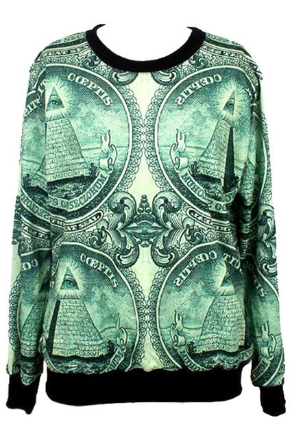 ROMWE | ROMWE Egyptian Pyramids Print Long-sleeved Sweatshirt, The Latest Street Fashion