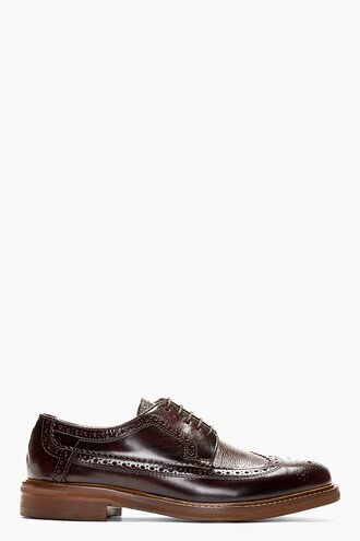brogues leather shoes menswear casual shoes longwing burgundy callaghan