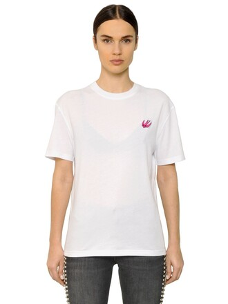 t-shirt shirt embroidered cotton white top