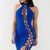 Solid Color Halter Hollow Out Sexy Dress
