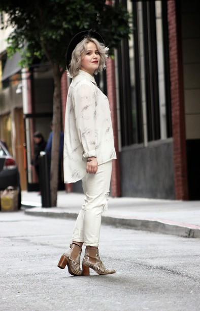 broke hell blogger jeans blouse shoes hat