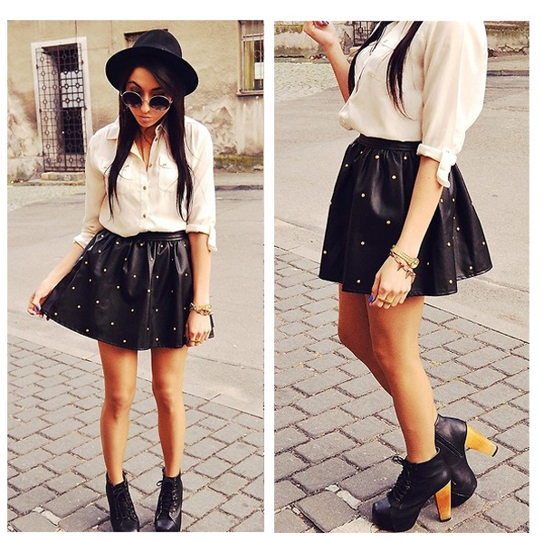 Bz punk ladies womens black spike studded vintage leather skirt dress shorts tee