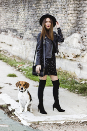 shoes and basics,blogger,skirt,jacket,bag,shoes,hat,crossbody bag,thigh high boots,black hat,black leather jacket,shoulder bag,winter date night outfit,leather jacket,black bag,over the knee boots,pointed toe boots