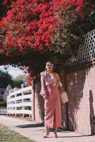 hallie daily blogger top skirt sunglasses bag shoes jewels pink skirt maxi skirt one shoulder