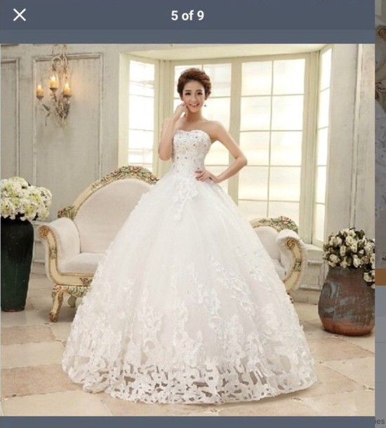Dress: white dress, bedazzle, quinceanera dress, puffy prom dress ...