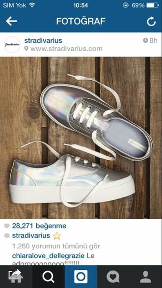 shoes metallic silver