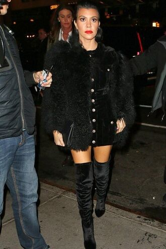 shoes tumblr boots black boots over the knee boots velvet over the knee boots coat black coat fur coat dress mini dress black dress button up kourtney kardashian kardashians red lipstick celebrity style celebrity