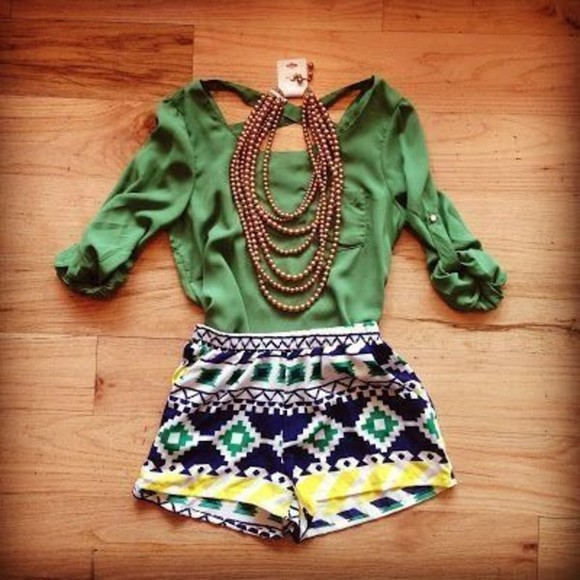 aztec aztec print shorts blouse summer summer outfits necklace girly