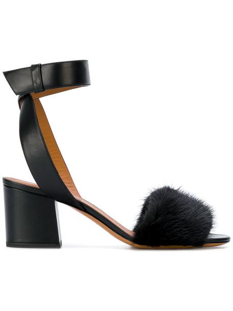 heel open fur women sandals leather black shoes