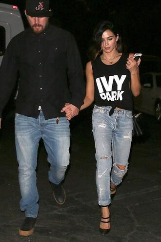 top tank top jenna dewan jeans denim ripped jeans