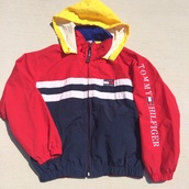 jacket,yellow top,blue jacket,tommy hilfiger,tommy hilfiger jacket,colorful,colorblock,windbreaker,tommy hilfiger windbreaker