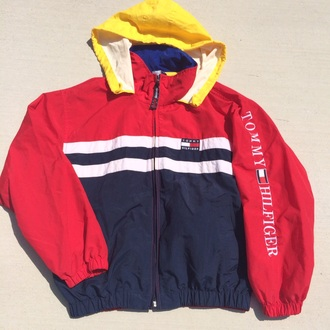 jacket yellow top blue jacket tommy hilfiger tommy hilfiger jacket colorful colorblock windbreaker tommy hilfiger windbreaker